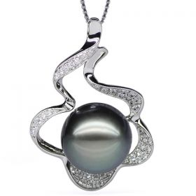 Round 11-12mm AAA Natural Black Tahitian Pearl Pendant with 925 Sterling Silver Necklace Chain EP4985