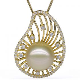 Light Golden Round 12-13mm A+ South Sea Pearl Pendant with 925 Sterling Silver Necklace Chain EP5034