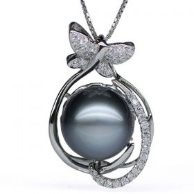 Butterfly Pendant Round 12-13mm AAA Natural Black Tahitian Pearl with 925 Sterling Silver Chain EP5586