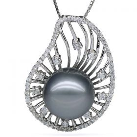 Round 12-13mm AAA Silvery Grey Tahitian Pearl Pendant with 925 Sterling Silver Chain EP5833