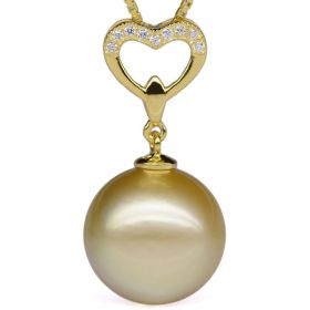 Golden South Sea Pearl Pendant Round 13-14mm AA with 925 Sterling Silver Necklace Chain EP6788