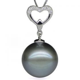 Round 13-14mm AA Natural Black Tahitian Pearl Pendant with 925 Sterling Silver Necklace Chain EP7547