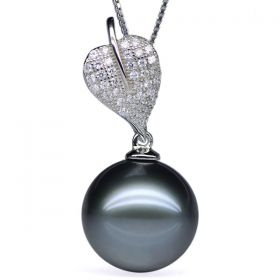 Round 13-14mm AA Natural Black Tahitian Pearl Pendant with 925 Sterling Silver Necklace Chain EP7821