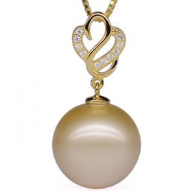 Round 14-15mm AA Golden South Sea Pearl Pendant with 925 Sterling Silver Necklace Chain EP83410
