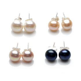 Simple Fashion 8.5-9mm Bread Freshwater Pearl 925 Sterling Silver Stud Earrings