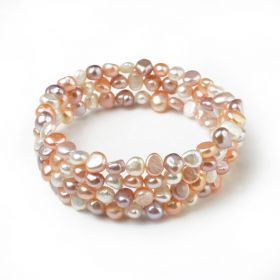 6-7mm Nugget Multicolor Freshwater Cultured Pearls Bangle