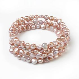 6-7mm Nugget Light Purple Freshwater Cultured Pearls Bangle Bracelet