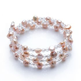 7-8mm Nugget Light Purple Pearls Clear Crystal Bangle For Girls Fashion Jewelry Bracelet