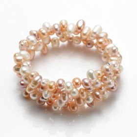 Assorted Color White Pink Light Purple Freshwater Pearls Bangle FBR155