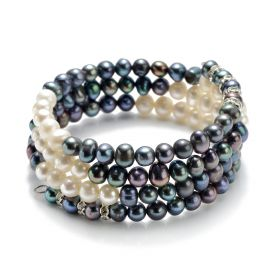 Triple Row White & Black 6-7mm Potato Pearls Bangle Bracelet Women Fashion Jewelry