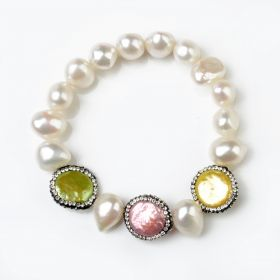 Nugget White Pearl Stretch Bracelet Coin Rhinestones Multicolor Pearls FBR165