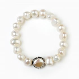 Nugget White Pearls Stretch Bracelet Coin Beads Clay Rhinestones FBR166