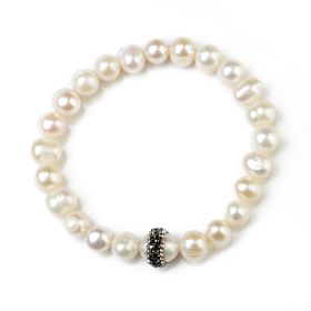 Potato 7-8mm Freshwater Pearl Clay Rhinestones Stretch Bracelet for Ladies Gift