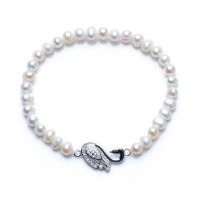 925 Silver Swan Charming 5-6mm Potato Pearl Stretch Bracelet Girls