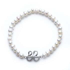 Charming 925 Silver Dual Swan 5-6mm Potato Pearl Stretch Bracelet for Girls
