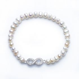 Lucky 925 Silver Figure 8 Charm Ladies 5-6mm Potato Pearl Stretch Bracelet