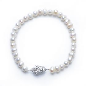 925 Silver Buddha Hand 5-6mm Potato Pearl Stretch Bracelet for Girls Fashion Jewelry