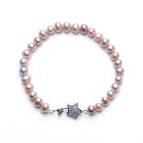 Women's 925 Silver Lucky Star Charm 5-6mm Potato Pearl Stretch Bracelet