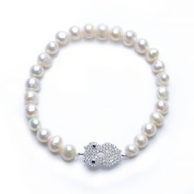 Girl's Cute 925 Silver Owl Inlaid Shiny Zircons 6-7mm Potato Pearl Stretch Bracelet