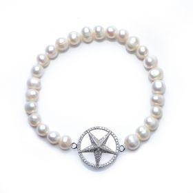 Shining 925 Silver Pentagram Star Fashion 6-7mm Potato Pearl Stretch Bracelet