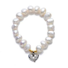9-10mm Nugget White Pearl Stretch Bracelet Heart Charm Women's Fashion Jewelry