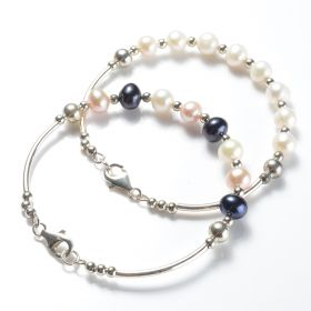 Simple Fashion 925 Silver Tube and Clasp 7-8mm Potato Pearl Bangle Bracelet
