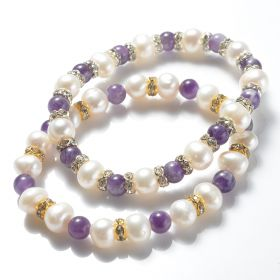 8-9mm Potato White Pearls with 6mm Amethyst Stretch Bracelet for Women's Gifts