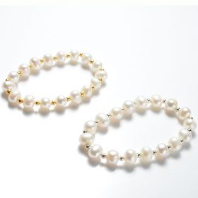 8-9mm Potato Freshwater Cultured White Pearl Stretch Bracelet