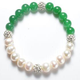 Potato White Pearl & Green Malaysia Jade Stretch Bracelet with Shiny Rhinestone Ball