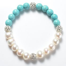 White Freshwater Pearl and Blue Turquoise Stretch Bracelet with Shiny Rhinestone Ball