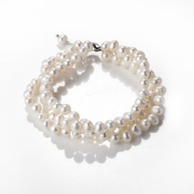 5-6mm White Freshwater Pearl 3 Strand Bracelet Stylish Jewelry Gift for Mom Lover 8 inch