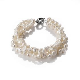 White Baroque Cultured Pearl Four Strand Chunky Bracelet