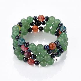 Multi Gemstone Black Pearl Beaded Bracelet on Memory Wire