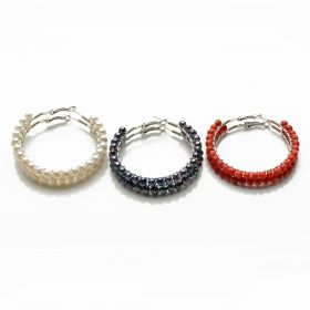 Hand Wired White Pearls(NO1), Black Pearls(NO2), Red Coral(NO3) Hoop Earrings
