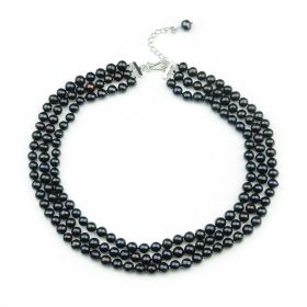 Chic Ladies Three Strand 7-8mm Black Potato Freshwater Cultured Pearl Necklace