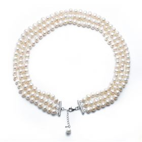 White Pearl 7-8mm Potato Freshwater Pearl 3 Strand Necklace Charming Bridal Jewelry