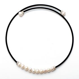 Black Cotton Cord White Freshwater Pearls Choker Necklace For Women's Fashion Jewelry