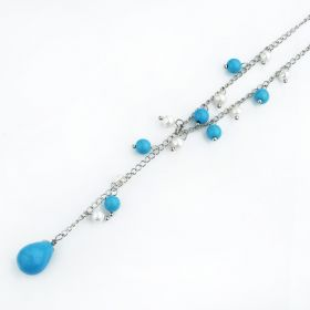 Blue Turquoise with White Pearls Y Necklace FN179