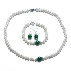 Button 7-8mm White Freshwater Pearls with Green Jade Jewerly Set