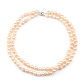 Pink Potato Freshwater Cultured Pearls Double Strand Necklace Women Fashion Jewelry
