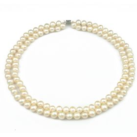 Two-strand 7-8mm White Cultured Potato Pearls Necklace 17 inch