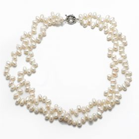 6-7mm White Double Twist Freshwater Pearl Necklace Custom Length
