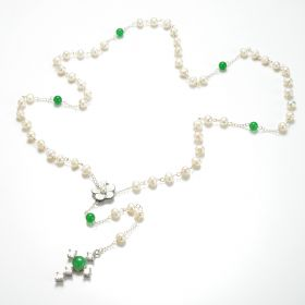 Lariat Y Necklace White Freshwater Pearls Malaysia Jade Cross Pendant