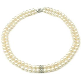 Double Strand White Freshwater Cultured Potato Pearls 925 Sterling Silver S Necklace