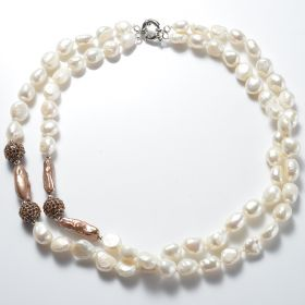 Elegant Freshwater Pearl Double-Strand Necklace with Rhinestone Metal Balls for Women