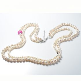 Fashion Potato White Freshwater Pearl Double Strands Necklace with Heart Candy Jade for Ladies