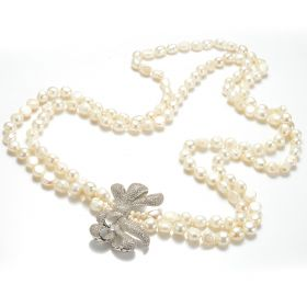 Nugget White Freshwater Cultured Potato Pearls Bowknot Necklace FN495
