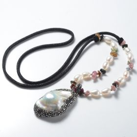 Unique Baroque Pearl Rhinestone Studded Pendant Black Rope Necklace with 6-7mm rice pearls