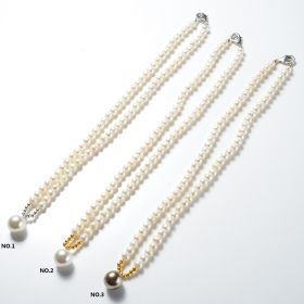 Classic Potato White Cultured Pearls Necklace with 12mm Round Shell Pearl Ball Pendant for Women
