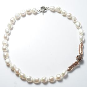 Classic Women's Nugget White Freshwater Pearl Necklace with Brown Rhinestone Metal Ball Beads